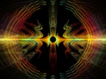 Way of Radial Oscillation. Wave Function series. Background composition of  colored sine vibrations, light and fractal elements on the subject of sound equalizer Royalty Free Stock Photos
