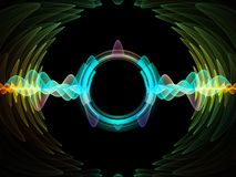 Way of Radial Oscillation. Wave Function series. Background composition of  colored sine vibrations, light and fractal elements on the subject of sound equalizer Stock Images