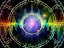 In Search of Radial Oscillation. Wave Function series. Creative arrangement of colored sine vibrations, light and fractal elements as a concept metaphor on Stock Image