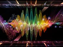 Advance of Oscillation. Wave Function series. Interplay of colored sine vibrations, light and fractal elements on the subject of sound equalizer, music spectrum Stock Photography