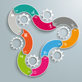 Wave Gears Infographic 9 Options Cycle. Infographic with gear wheels on the grey background Royalty Free Stock Photos