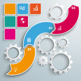 Wave Gears Infographic 3 Options. Wave with gears and 3 options on the grey background vector illustration