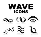 Wave glossy black icon set Stock Image