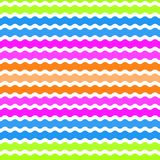 Wave green, pink, orange, blue background, seamless pattern. Vector Royalty Free Stock Photos