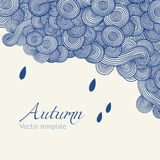 Wave hand-drawn doodle. Vector wavy background with raindrops. Autumn theme. Stock Photography