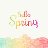 Wave hand-drawn doodle. Vector wavy background. Spring theme. Stock Images