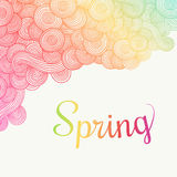 Wave hand-drawn doodle. Vector wavy background. Spring theme. Royalty Free Stock Photography