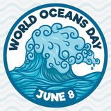Wave in Hand Drawn Style for World Oceans Day, Vector Illustration Stock Images