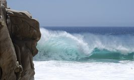 The Wave Hit. Furious wave hit on Lovers' beach in Cabo San Lucas, Mexico Stock Photo