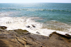 Wave hits the rocks, Bentota, Sri Lanka Stock Photo