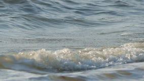 Wave hitting beach close up stock footage