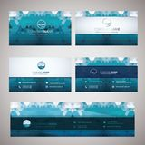 Wave icon and the geometric abstract business cards Stock Photos