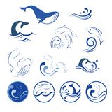 Wave icons and fish. Water and wave icons and fish Royalty Free Stock Images