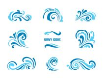 Wave icons, set of simple swirls and splashes on white vector illustration