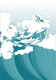 Wave. Illustration of a wave, stylized like Japanese watercolor. Simple solid fill only - no gradient, no gradient mesh Stock Images