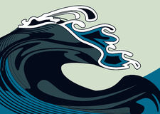 Wave. Illustration of a wave, stylized like Japanese watercolor. Simple solid fill only - no gradient, no gradient mesh Royalty Free Stock Photos