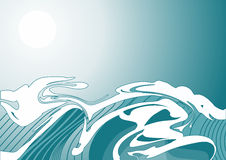Wave. Illustration of a wave, stylized like Japanese watercolor. Simple solid fill only - no gradient, no gradient mesh Royalty Free Stock Images