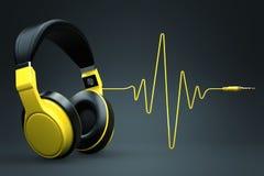 Wave impulse headphones concept. Wallpaper image Stock Images