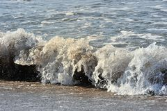 Wave. A wave ist rolling to the strand Royalty Free Stock Photo