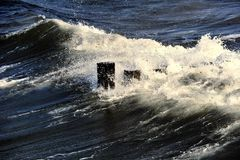 Wave. A wave ist rolling to the strand Stock Image