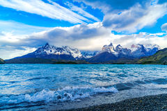 Wave at Lake Pehoe and the mountain royalty free stock photo
