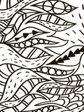Wave leaves coloring book for adult vector Royalty Free Stock Photo