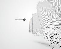 Wave-like pattern composed of particles, science and technology illustration. Wave-like pattern composed of particles, science and technology illustration royalty free illustration