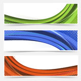 Wave line dotted web banners set Royalty Free Stock Photo