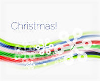 Wave line with snowflakes. Christmas abstract background Royalty Free Stock Photos