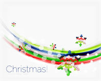 Wave line with snowflakes. Christmas abstract background Royalty Free Stock Images