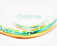 Wave line with snowflakes. Christmas abstract background Royalty Free Stock Image