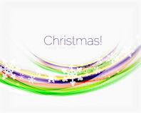 Wave line with snowflakes. Christmas abstract background Royalty Free Stock Photography