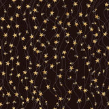 Wave line vertical star glitter seamless pattern Royalty Free Stock Images