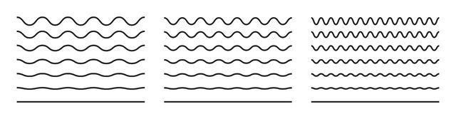 Wave line and wavy zigzag pattern lines. Vector black underlines, smooth end squiggly curvy squiggles