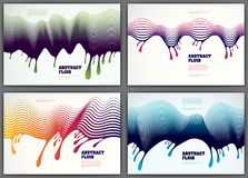 Wave lines fluid vector abstract backgrounds set. 3d dynamic str. Ipes motion art. Lined texture, dynamic surface, curve lines, flow shape Royalty Free Stock Photos