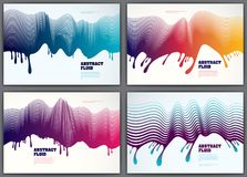 Wave lines fluid vector abstract backgrounds set. 3d dynamic str. Ipes motion art. Lined texture, dynamic surface, curve lines, flow shape Royalty Free Stock Images