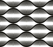 Wave lines seamless pattern, abstract geometric black and white Stock Photo