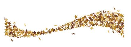 Wave made of golden stars. It looks like a star tail Stock Photo