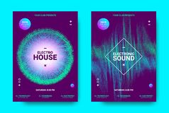 3d Poster for Electronic Music Festival. Wave Music Poster with Amplitude of Sound. Futuristic Flyer Concept for Electronic Event Promotion. Vector Equalizer royalty free illustration