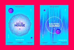 Wave Music Poster Concept. Electronic Sound Flyer. royalty free illustration