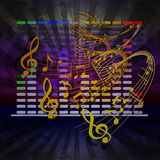 Wave of musical notes in the background equalizer Royalty Free Stock Images