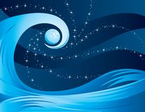 Wave at night with the moon. Illustrated scene with the moon , stars and a wave of water at night Royalty Free Stock Images
