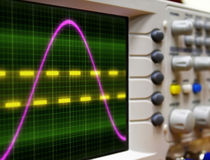 Wave on oscilloscope. Probe arm sinus signal stock photos