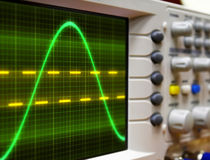 Wave on oscilloscope. Probe arm sinus  signal Stock Photos