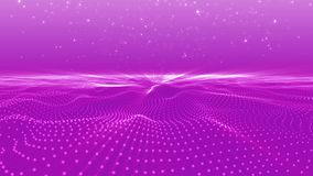 Abstract pink dots wave form polygonal three dimension space stock video