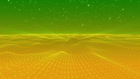 Abstract yellow green dots wave form polygonal three dimension space stock video footage