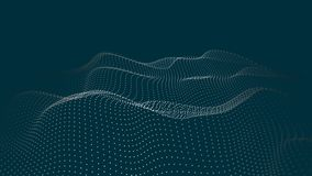 A wave of particles. Futuristic point wave. Vector illustration. Abstract blue background with a dynamic wave. Wave 3d stock illustration