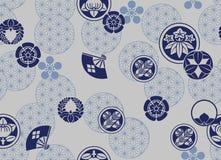 Japanese Blue Crest Pattern. On grey background royalty free illustration