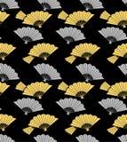 Japanese Gold and Silver Folding Fan Art Seamless Pattern stock photos