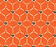 Japanese Red Hexagon Flower Art Seamless Pattern stock images